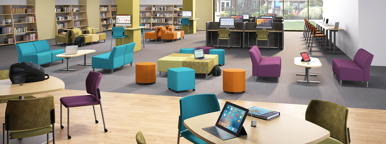 3D rendering of a clean and bright learning space
